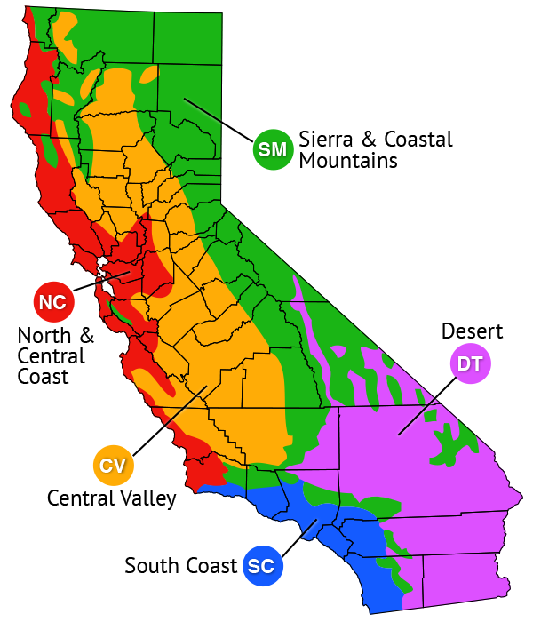Map of regions based on Sunset climate zones