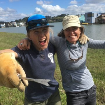 Volunteers take a break from pulling invasive sea lavender from Richardson Bay in Marin County to share a smile for the camera. Photo: Dana Morawitz