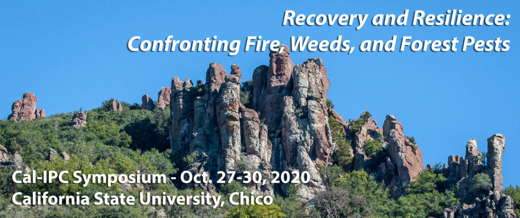 Rocky landscape against a clear sky with text Cal-IPC 2020 Symposium in Chico Oct 27-30