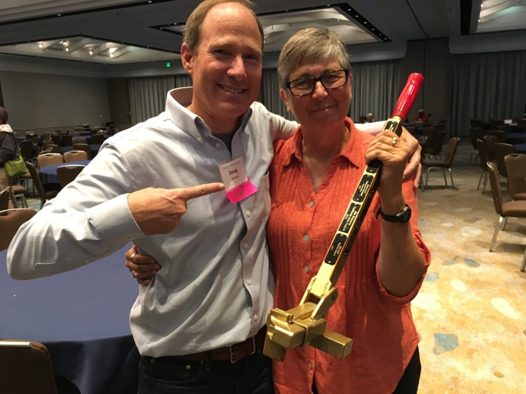 2018 Symposium Doug Johnson and Sue Hubbard Golden Weed Wrench 2018