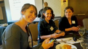 Student Liaisons Amanda Swanson and Marina LaForgia meet with Board Member Laura Pavliscak at the Cal-IPC Symposium