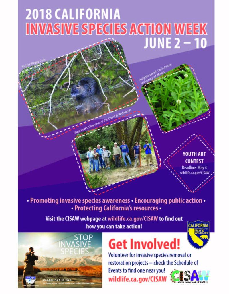 2018 California Invasive Species Action Week CISAW poster