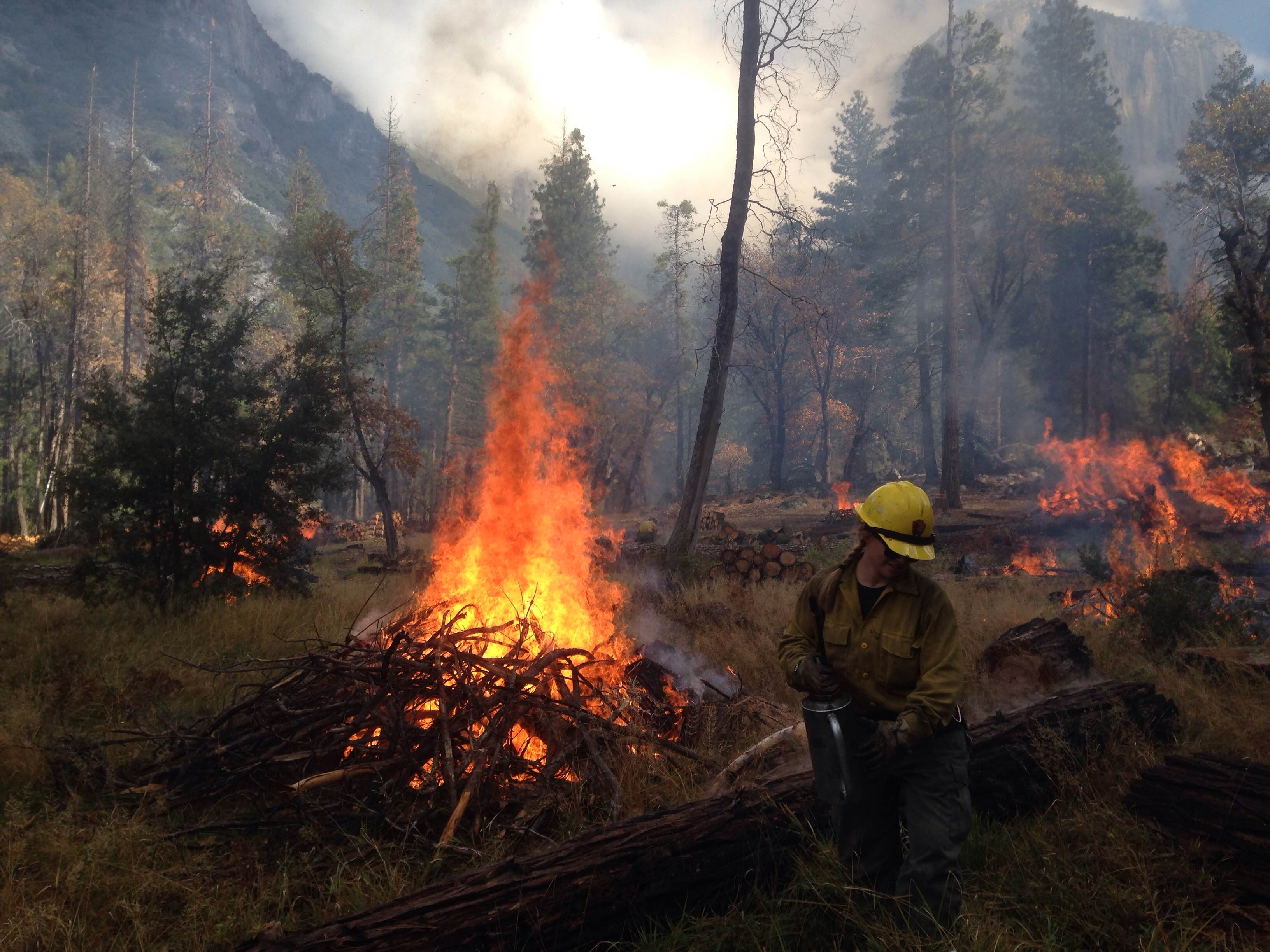 Burning debris piles in Bridalveil Meadow, Yosemite National Park