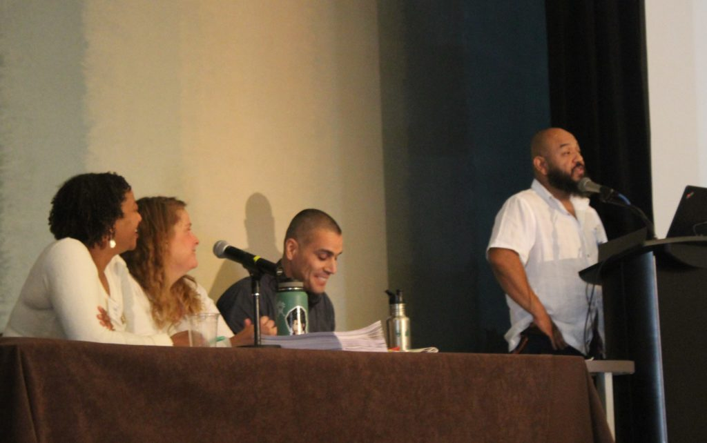 2018 Symposium EDI Equity, Diversity and Inclusion plenary Kelli English, Amanda Rowland, Fernando Villalba, Marcos A. Trinidad.