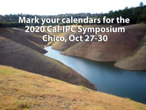 A lake with high sloping hills on each side, covered with text promoting the 2020 Symposium