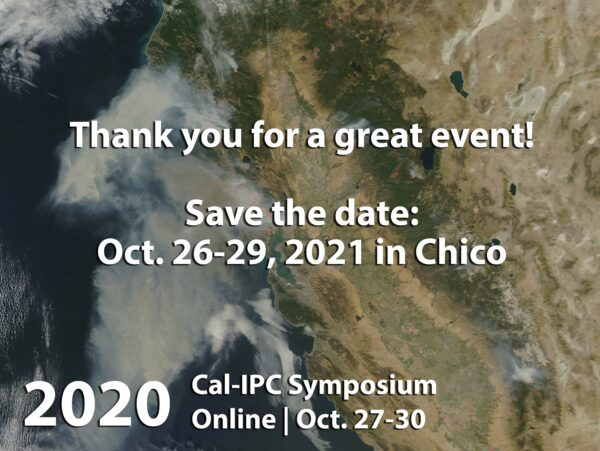 Image of 2017 California wildfires from space, with text overlaid Thank you for a great event. Save the date Oct. 26-29 in Chico