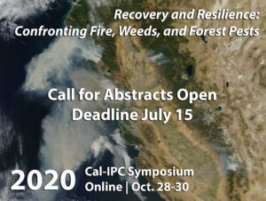 View from space of California during 2017 Fires, with header text Cal-IPC Symposium Oct 28-30, 2020