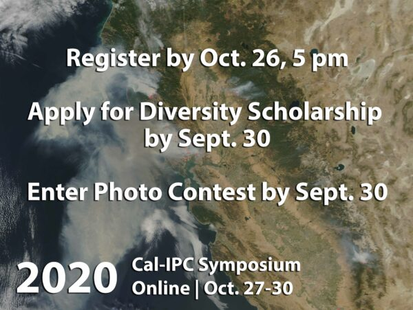 View of California from space with text to register for the 2020 Cal-IPC Symposium