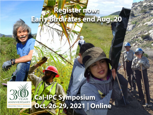 """Composite image of a white-haired man in work gloves kneeling in green grass, a man in red hard hat reaching up to grab Arundo branches, a woman in sun hat hoisting a large garbage bag on her shoulder, and two women in blue hard hats holding shovels and rakes on a rocky mountain. Text overlay reads """"Register Now: Early bird rates end Aug. 20, Cal-IPC Symposium, Oct. 26-29, 2021, Online"""""""