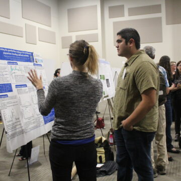 Two people discuss a poster while more people in the background look at other posters