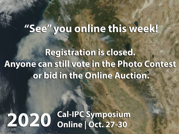 Image of 2017 California wildfires from space, with text overlaid Registration closed vote in photo contest or bid in auction