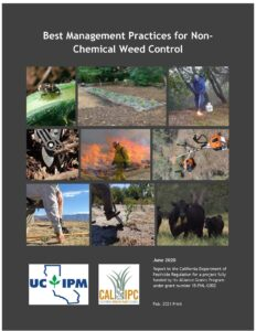 Cover of the BMP manual for Non-Chemical Weed Control with 9 images of various methods, including fire, grazing, hand pulling, biocontrol, and cutting.